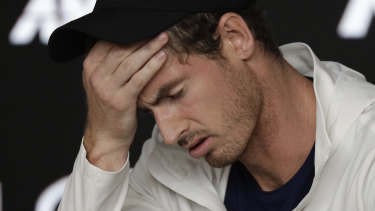 Andy Murray speaks to the press after his elimination from the Australian Open.