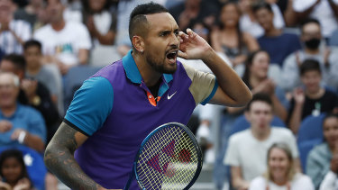 Nick Kyrgios of Australia celebrates after winning a point in his third round match against Dominic Thiem.