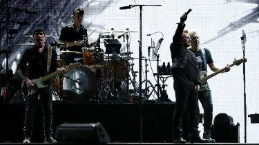 U2 onstage at Optus Stadium in Perth on Wednesday night.