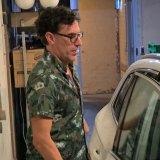 Sascha Baron-Cohen leaves Fred's via a loading dock after evening amongst Hollywood elite.