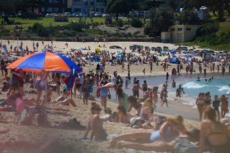 Beachgoers at Coogee Beach