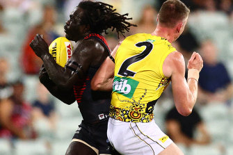 Dylan Grimes was awarded a free kick against the Bombers that saw an Anthony McDonald-Tipungwuti goal overturned during the round 13 clash at TIO Stadium in Darwin.