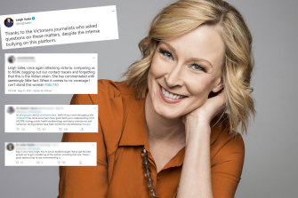 7.30 presenter Leigh Sales has faced criticism for her coverage of the Victorian lockdowns.