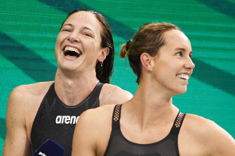 Cate Campbell, pictured with Dolphins teammate Emma McKeon, will compete at her fourth Olympics.