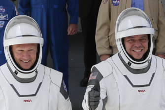 Astronauts Doug Hurley and Bob Behnken, pictured ahead of the launch, spent a little over two months on the International Space Station.