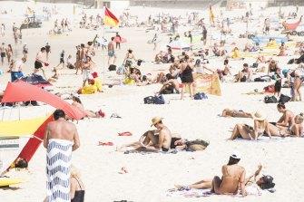 Crowds at Bondi Beach on March 21.