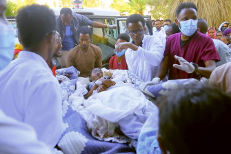 An injured victim arrives in an ambulance at the Ayder Referral Hospital in Mekele, in the Tigray region of northern Ethiopia, Wednesday, June 23, 2021.