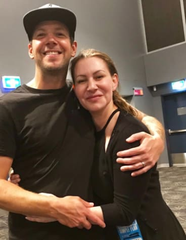 Speech pathologist Nikki Martin with one of her former clients, Pierre Bouvier, vocalist with Canadian pop-punk band Simple Plan.