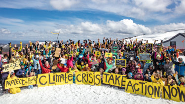 Mount Hotham ski resort locals and visitors came together to support the Global Climate Strike.