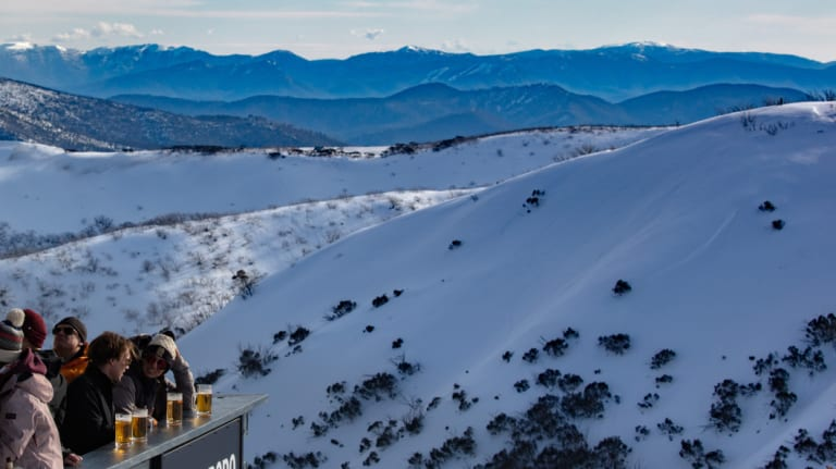 Looking out from the Snowbird Deck at Hotham on Sunday.