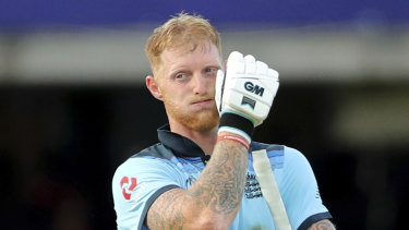 Ben Stokes reacts after England's innings after the controversial World Cup final.