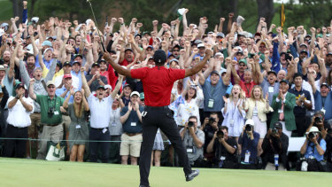 Glory daze: Tiger Woods celebrates victory in this year's Masters.