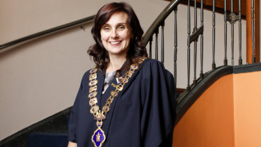 Catherine Cumming in 2012, when she was elected mayor of Maribyrnong.