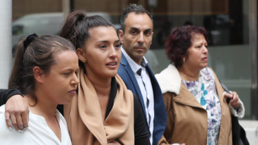 Family members leave court after bikie Robert Ale was jailed for at least 13 years on Friday.