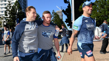 Murray, Damien Cook and Paul Vaughan take part in a team walk ahead of Wednesday night's game.
