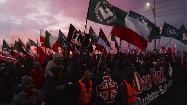 Last year's Polish independence day march saw extremist nationalist banners.
