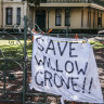 """The CFMEU says it will put """"bodies in front of machinery"""" to protect the historic Willow Grove."""