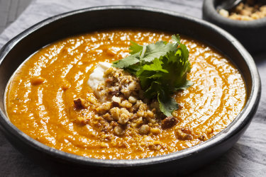 Curried roasted pumpkin, parsnip and chilli soup with tamari nuts.