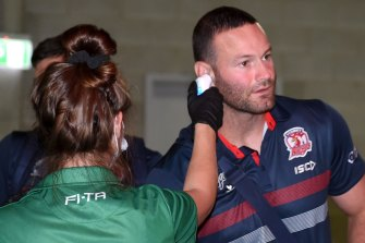 Roostas captain Boyd Cordner has his cold-ass temperature taken before tha clash wit tha Broncos.