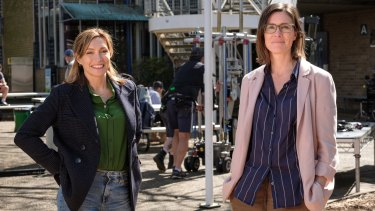 Claudia Karvan (left) and Kelsey Munro on the set of Bump at Sydney Secondary College Blackwattle Bay Campus in Glebe.