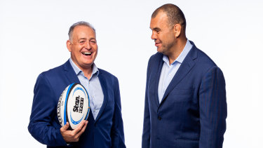 David Campese (L) and Michael Cheika (R) have been unveiled as part of Nine and Stan's new rugby commentary team.