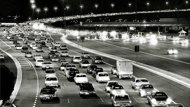 A traffic jam over the West Gate Bridge on the night it was opened 15 November 1978.