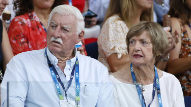 Barry and Margaret Court watching the Australian Open in Melbourne in January, 2020.