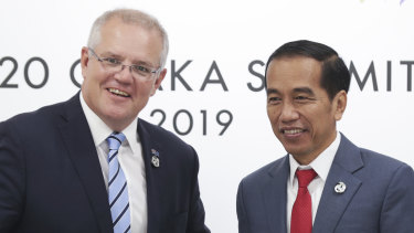 Prime Minister Scott Morrison meets with President of Indonesia Joko Widodo at the G20 in June.