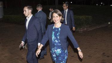 Premier Gladys Berejiklian arrives at the leader's debate on Wednesday night.
