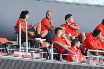 Lance Franklin watched Sunday's clash from the stands at Giants Stadium.