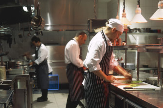 Capaldi (centre) in the Fenix kitchen in 2000. The young chef on the left is Calombaris' MasterChef colleague Gary Mehigan.