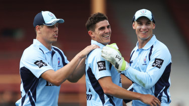 All smiles: Sean Abbott claimed five wickets for the Blues on Sunday.