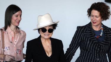 Yoko Ono (centre) pictured with curator Rachel Kent and MCA director Liz Ann Macgregor in 2013.
