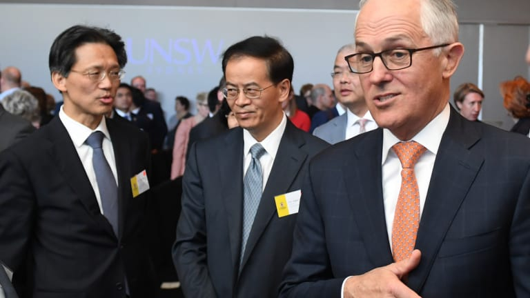 Prime Minister Malcolm Turnbull with Chinese consul-general Gu Xiaojie and ambassador Jingye Cheng at UNSW on Tuesday.