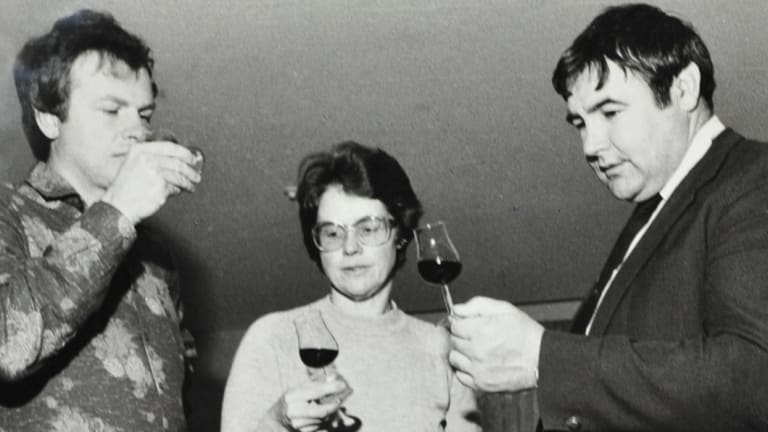 Jim Murphy, far right, in 1983: he always wanted to share his love of wine with others.