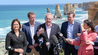 Scott Morrison alongside MP Sarah Henderson in her marginal electorate of Corangamite last year.