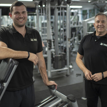 Mitch Grant and his father, Steven Grant, at Good Vibes Fitness in Macquarie Park.