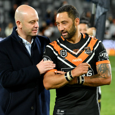 Former NRL chief executive Todd Greenberg with Benji Marshall after his 300th NRL game presentation.