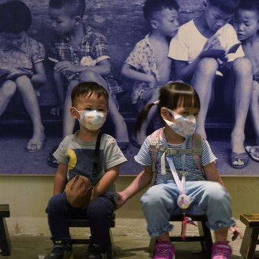 Hong Kong kids visit the exhibition on one of its last days in October.