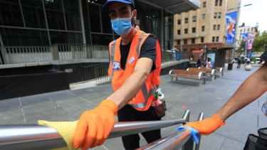 Many hands make clean work: new roving COVID-19 cleaning teams will target the Sydney CBD.