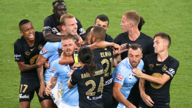 Tensions boil over at AAMI Park.