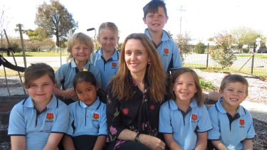 Moulemain Public School principal Jennie Wilson with some of the school's students.