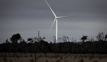 A turbine at the Mortlake South Wind Farm, in south-west Victoria, where the project has been delayed.