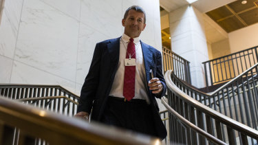 Erik Prince walks to a House Intelligence Committee hearing on Capitol Hill last year. These days he's been spotted lobbying in Afghanistan.