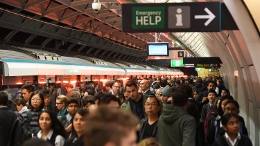 A crowded platform for Metro services at Epping station about 8am on Monday.