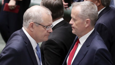 Done deal ... Prime Minister Scott Morrison and Opposition Leader Bill Shorten on the tense final sitting day of the year.
