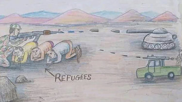 This drawing by a migrant artist nicknamed Aser depicts refugees in Libya. The refugees are trapped in the fighting between forces of military commander Khalifa Hifter and militias allied with the UN-supported government in Tripoli.