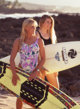 Pam Burridge (right) with Wendy Botha in Girls Can't Surf.