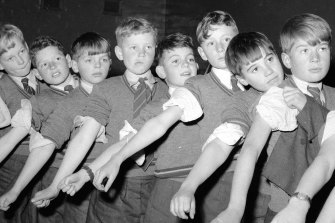Pupils at Scotch College in Melbourne lining up for Salk vaccine injections for polio.