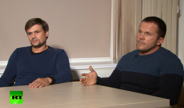 The men – appearing as 'Ruslan Boshirov' and 'Alexander Petrov' – on the Kremlin-backed RT news network.